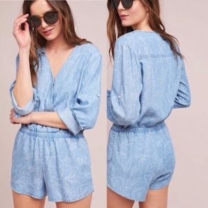 Cloth & Stone Floral Chambray Romper